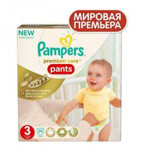 Трусики Pampers premium care 56шт 3