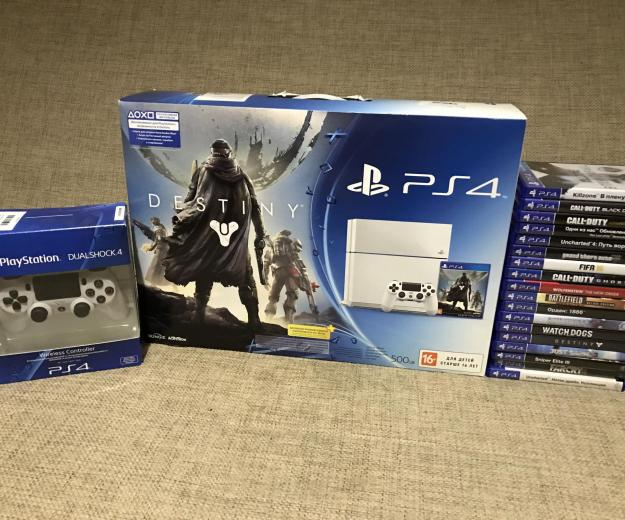 Playstation4 white +2 dualshock4+ 18 игр. Фото 3.