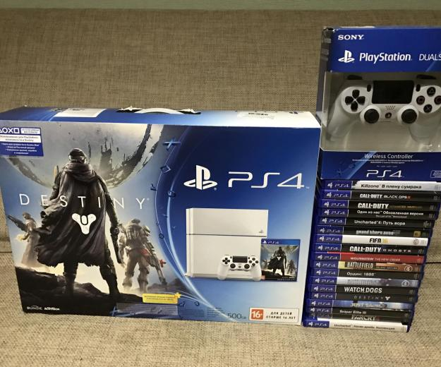 Playstation4 white +2 dualshock4+ 18 игр. Фото 4.
